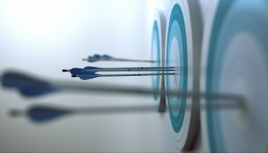 Arrows hitting a blue and white target